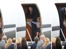 Composite photos of Prince George holding the hand of his  father, the Duke of Cambridge, as he arrives at Warsaw's Chopin Airport with the Duchess of Cambridge and Princess Charlotte for the start of their five-day tour of Poland and Germany.  PRESS ASSOCIATION Photo. Picture date: Monday July 17, 2017. See PA story ROYAL Cambridge. Photo credit should read: Jane Barlow/PA Wire LaPresse Only italy Reali inglesi in visita in Polonia - primo giorno 131515